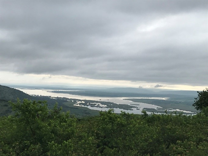 Panoramic view of Nakivale refugee settlement around Lake Nakivale