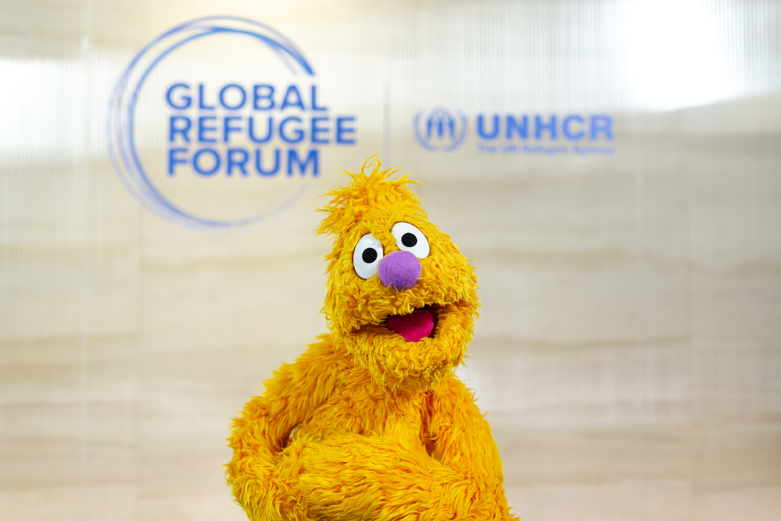 Sesame Street Muppets meet guests at Global Refugee Forum