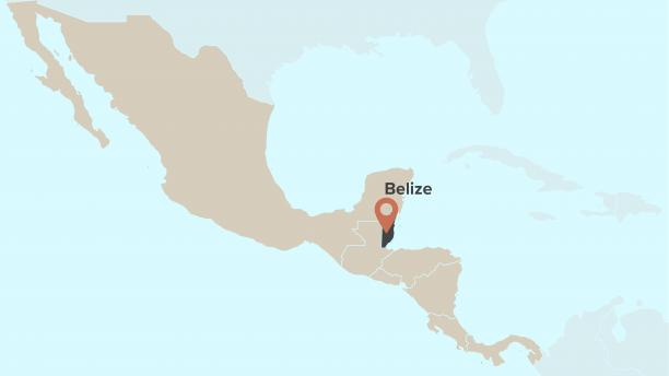 Map displaying location of Belize