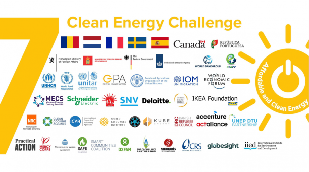 Graphic showing logos of different organisations supporting the Clean Energy Challenge