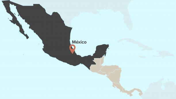 Map displaying location of Mexico
